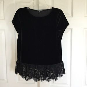 Adrianna Papell black velour lace top S